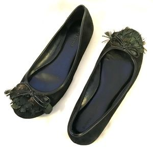 BANANA REPUBLIC Black Peacock Ballet Flats Shoe 8